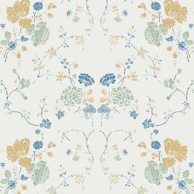 Nomad Collection Floral Lace in Natural Cotton Removable and Repositionable Wallpaper