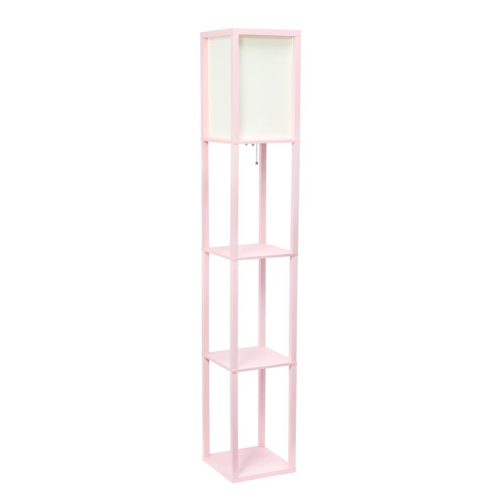 63.3 in. Etagere Light Pink Floor Lamp Organizer Storage Shelf with Linen Shade