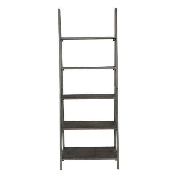 72.25 in. Gray Wood 5-shelf Ladder Bookcase with Open Storage