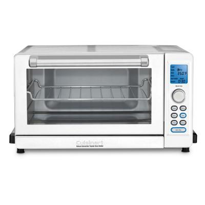 Deluxe 1800 W 6-Slice White Convection Toaster Oven with Broiler