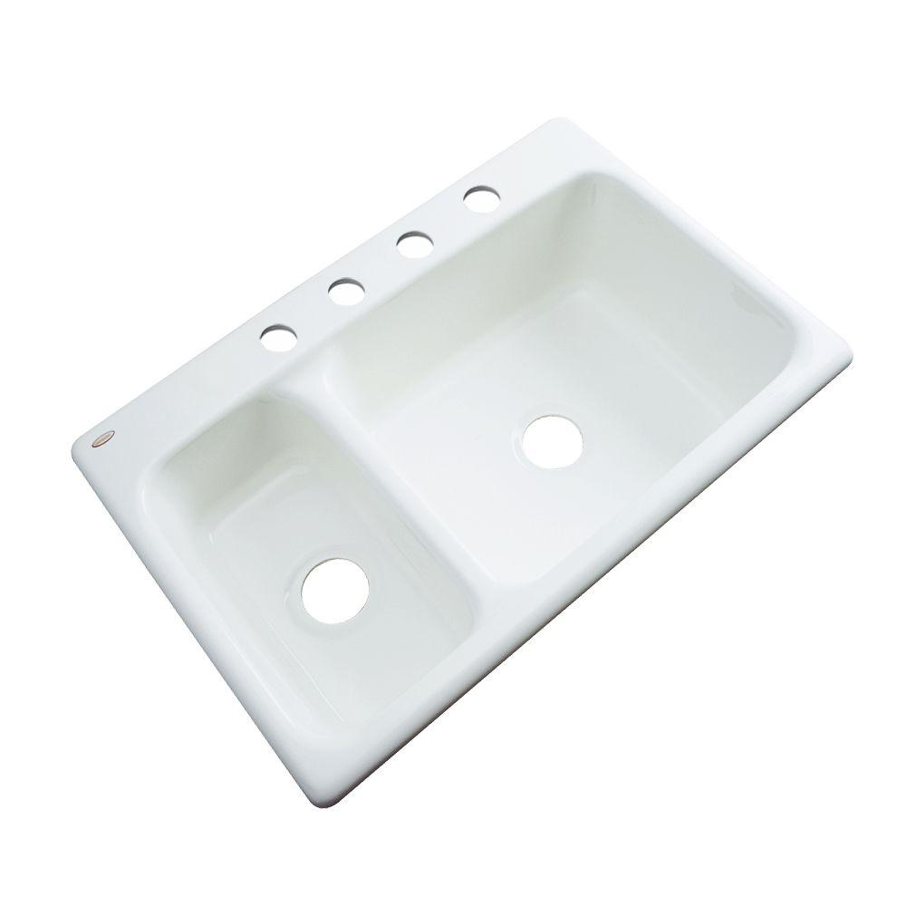 Wyndham Drop-In Acrylic 33 in. 4-Hole Double Bowl Kitchen Sink in