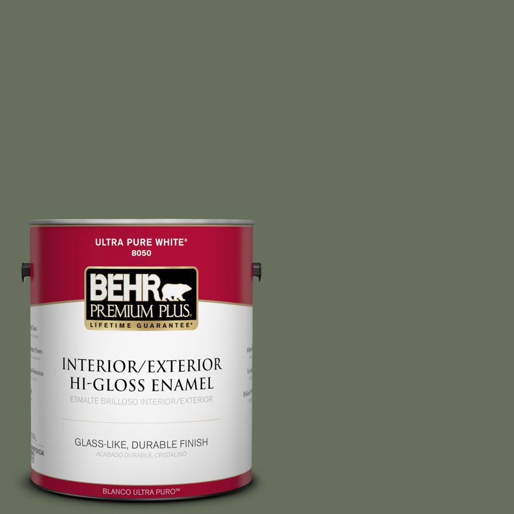 BEHR Premium Plus 1-gal. #N390-6 Laurel Garland Hi-Gloss Enamel Interior/Exterior Paint