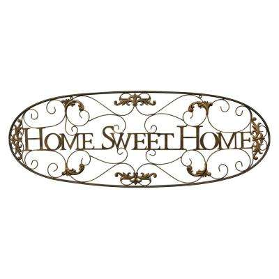 Metal Wall Decor - Sweet Home Finished in Gold - 43.75 X 0.5 X 15.75