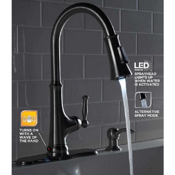 Glacier Bay Touchless Led Single Handle Pull Down Sprayer Kitchen Faucet With Soap Dispenser In Stainless Steel 67536 0508d2 The Home Depot