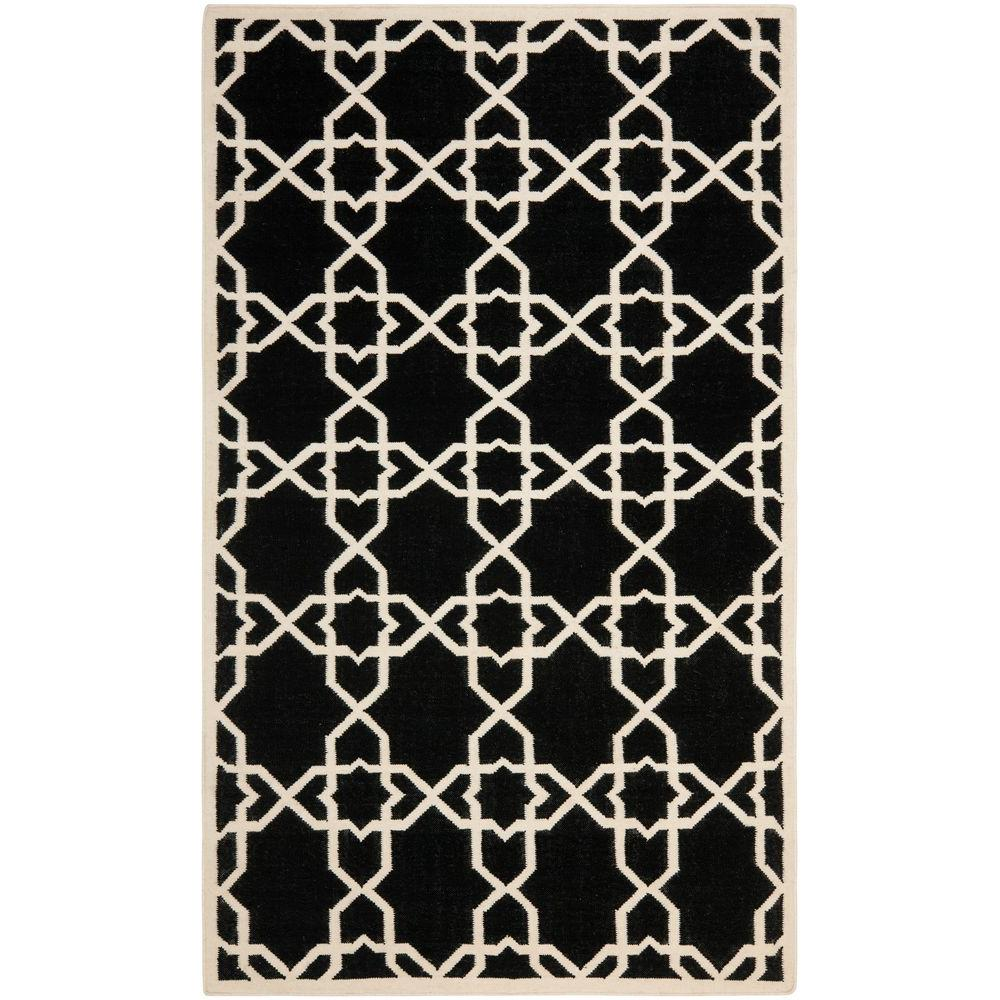 Safavieh Dhurries Black Ivory 9 Ft X 12 Ft Area Rug Dhu548l 9