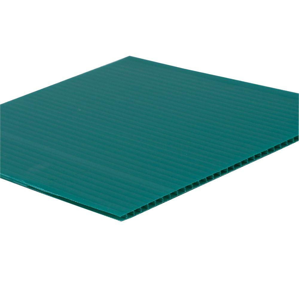 null 48 in. x 96 in. x 0.157 in. Green Corrugated Plastic Sheet (10-Pack)