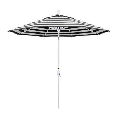 9 ft. Matted White Aluminum Push Button Tilt Crank Lift Market Patio Umbrella in Cabana Classic Sunbrella