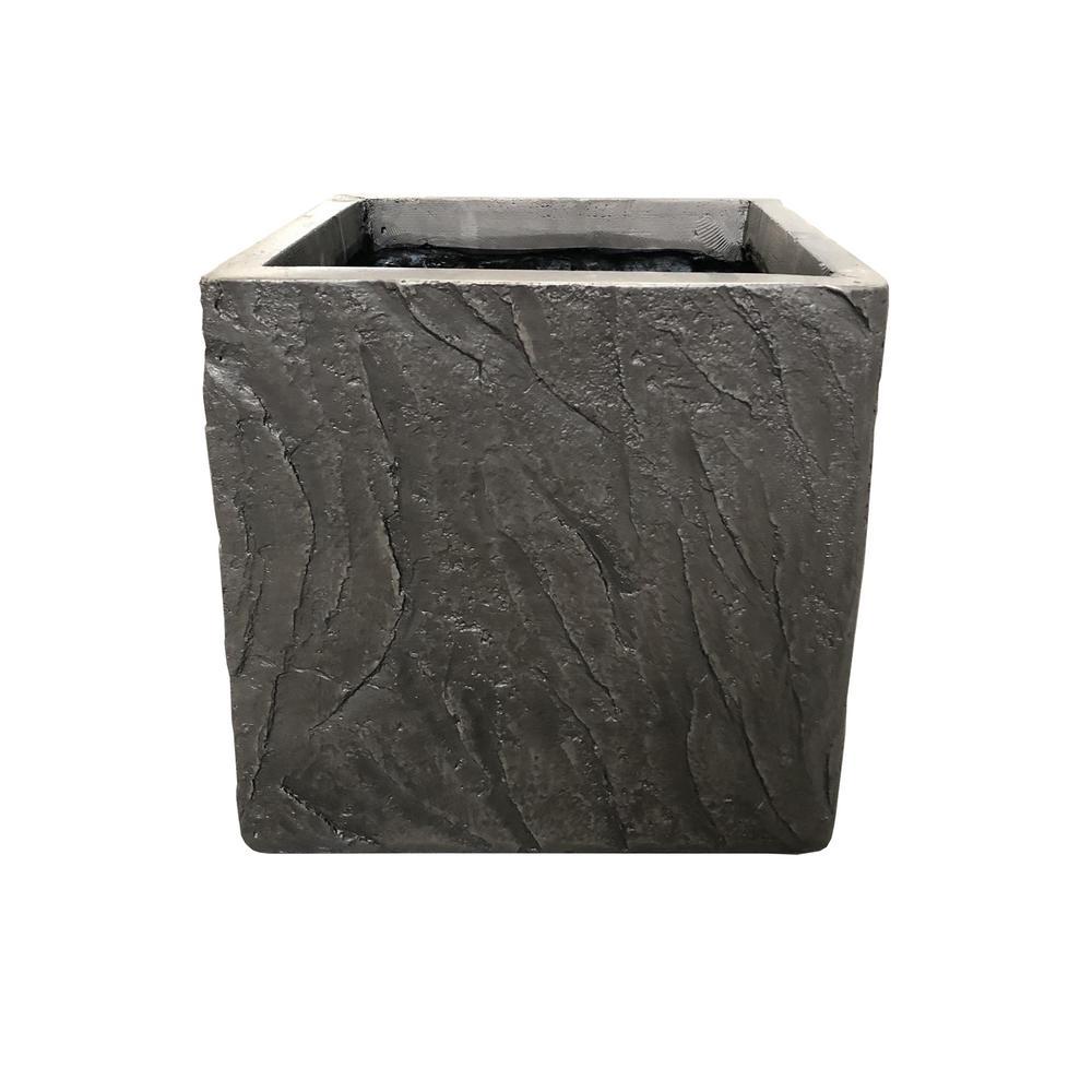 10.24 in. x 10.24 in. x 10.24 in. Dark Brown Lightweight Concrete Slate Cube Small Planter