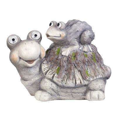 11 in. Tall Solar Turtles White LED Changing Color Eyes Statue with Timer