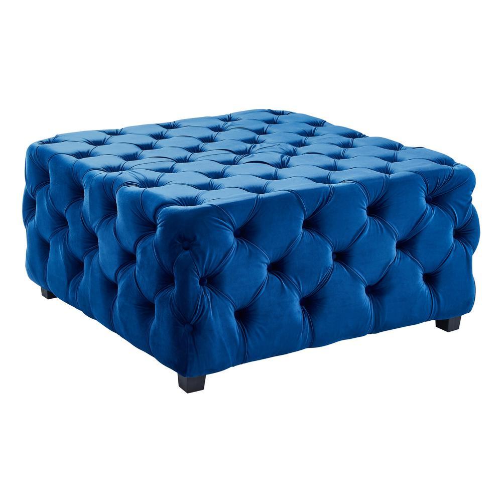 Taurus Blue Velvet Contemporary Ottoman with Wood Legs