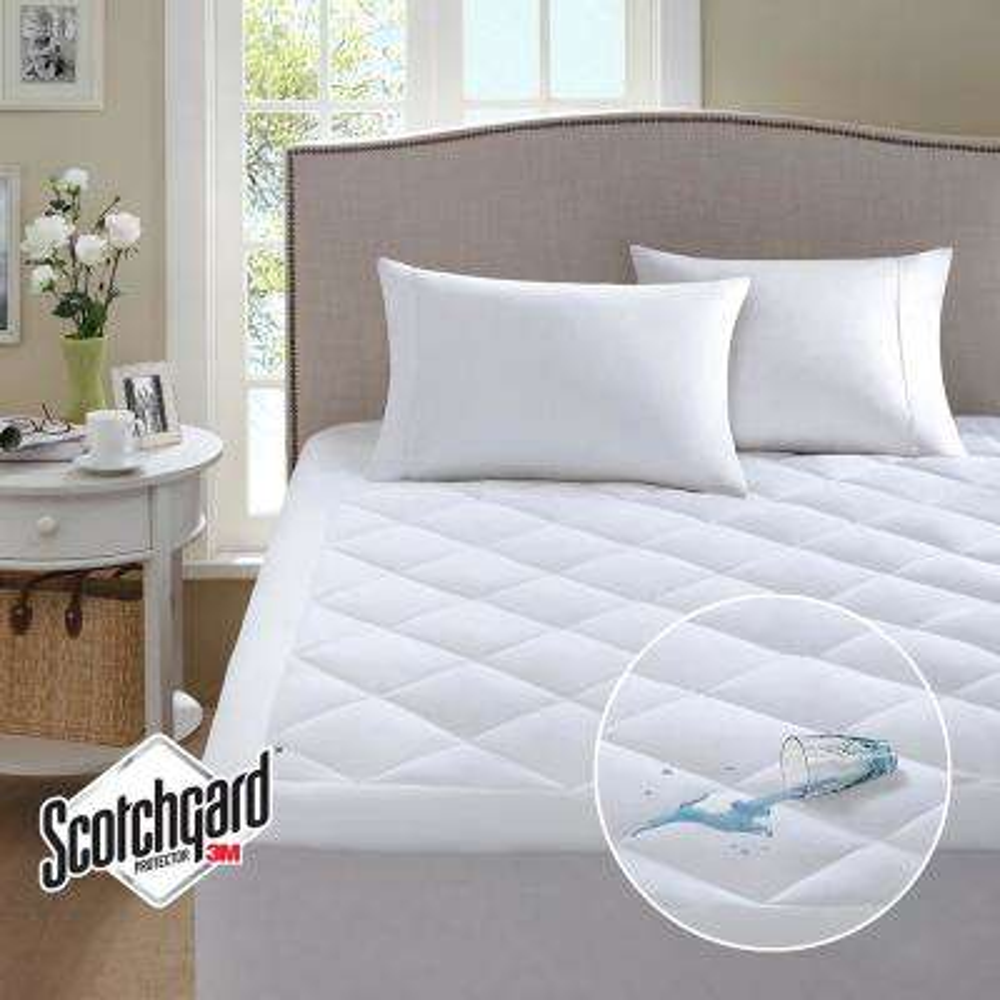 Harmony White Full Waterproof 3M Scotchgard Moisture Treatment Mattress Protector Pad
