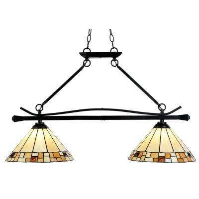 Sundance 60-Watt Tiffany Bronze Integrated LED Island Chandelier with 2-Hand Rolled Art Glass Shades