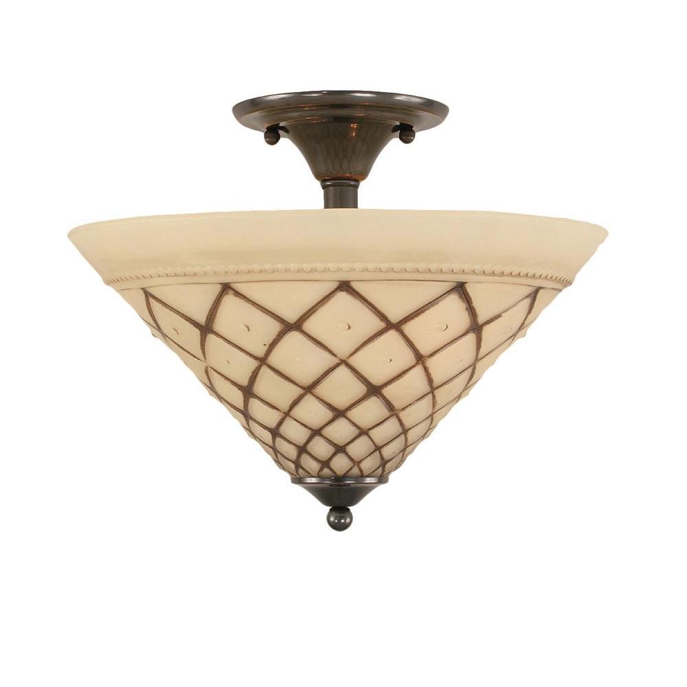 Concord 2-Light Black Copper Incandescent Ceiling Semi-Flush Mount Light