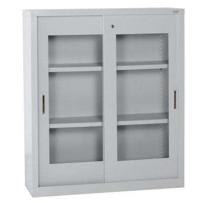 42 in. H x 36 in. W x 18 in. D Steel Freestanding Storage Cabinet with Clear View Sliding Door in Dove Gray