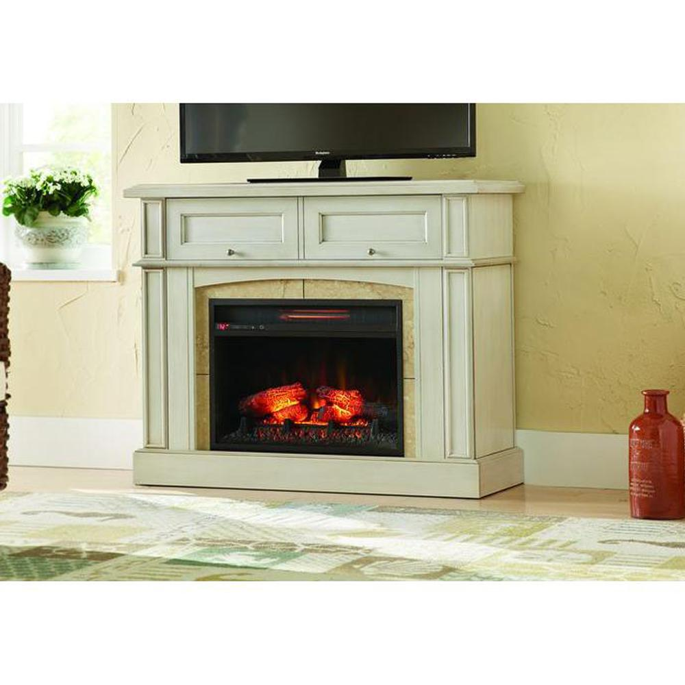 Add supplemental warmth to your home with Home Decorators Collection Bellevue Park Mantel Console Infrared Electric Fireplace in Dark Brown Cherry Finish.