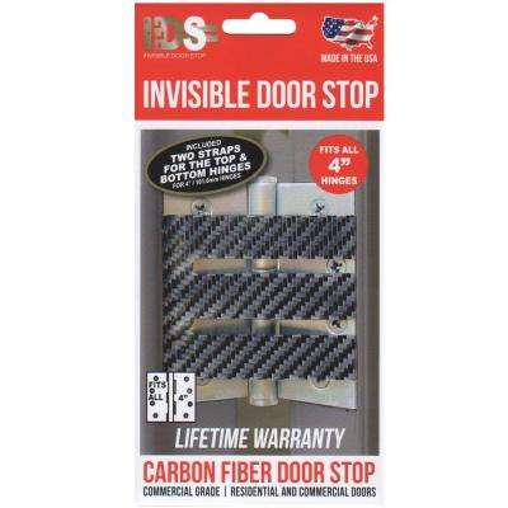 4 in. Carbon Fiber Matte Hinge Stop Exterior Residential/Commercial Door Stop