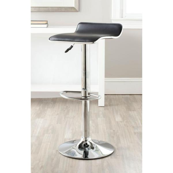 Safavieh Chaunda Adjustable Height Chrome Swivel Cushioned Bar Stool FOX7517B