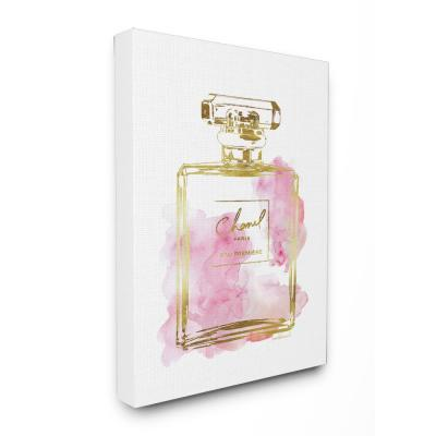 """16 in. x 20 in. """"Glam Perfume Bottle Gold Pink"""" by Amanda Greenwood Printed Canvas Wall Art"""