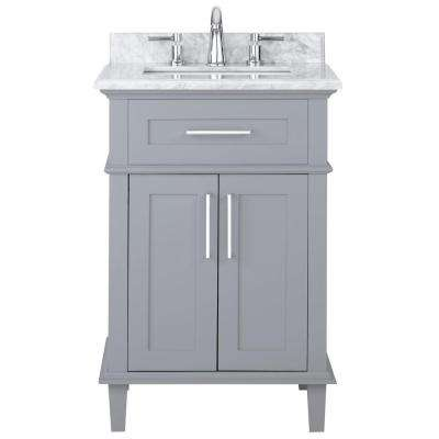 Sonoma 24 in. W x 20.25 in. D Vanity in Pebble Grey with Carrara Marble Top with White Sinks