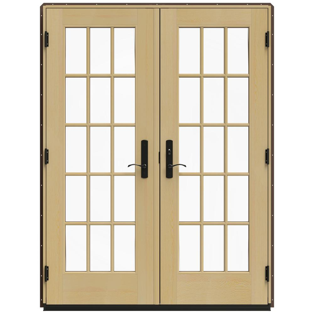 Jeld wen 60 in x 80 in w 4500 brown clad wood left hand for Wooden french doors