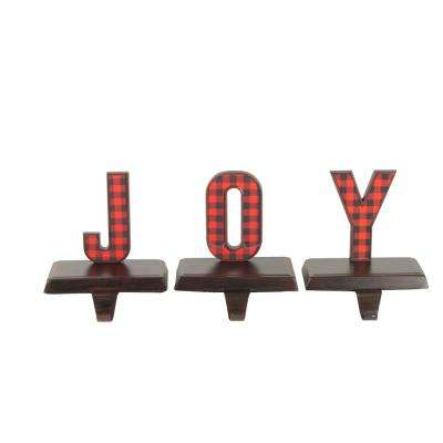 6 in. Red and Black Buffalo Plaid Joy Christmas Stocking Holder (Set of 3)