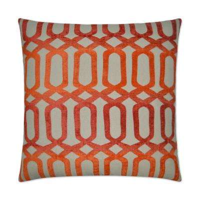 Nakita Orange Feather Down 24 in. x 24 in. Decorative Throw Pillow