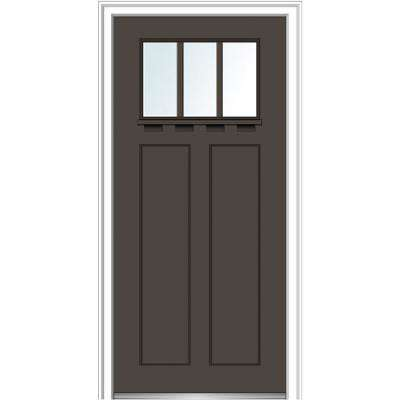 32 in. x 80 in. Right-Hand Inswing 3-Lite Clear 2-Panel Shaker Painted Fiberglass Smooth Prehung Front Door with Shelf