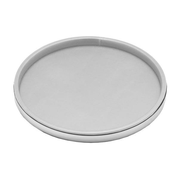 Sophisticates 14 in. White Vinyl and Brushed Chrome Round Serving Tray (Case of 12)
