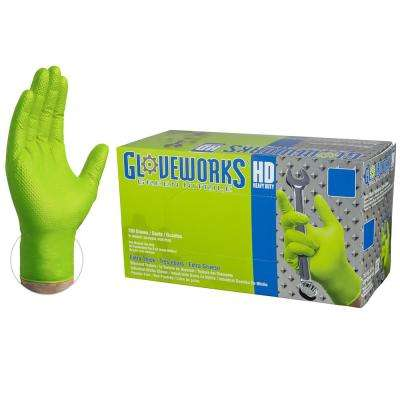 Large 8 mm Gloveworks HD Diamond Texture Green Nitrile Industrial Powder Free Disposable Gloves (100-Box)