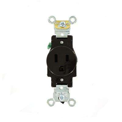 15 Amp Industrial Grade Heavy Duty Self Grounding Single Outlet, Brown