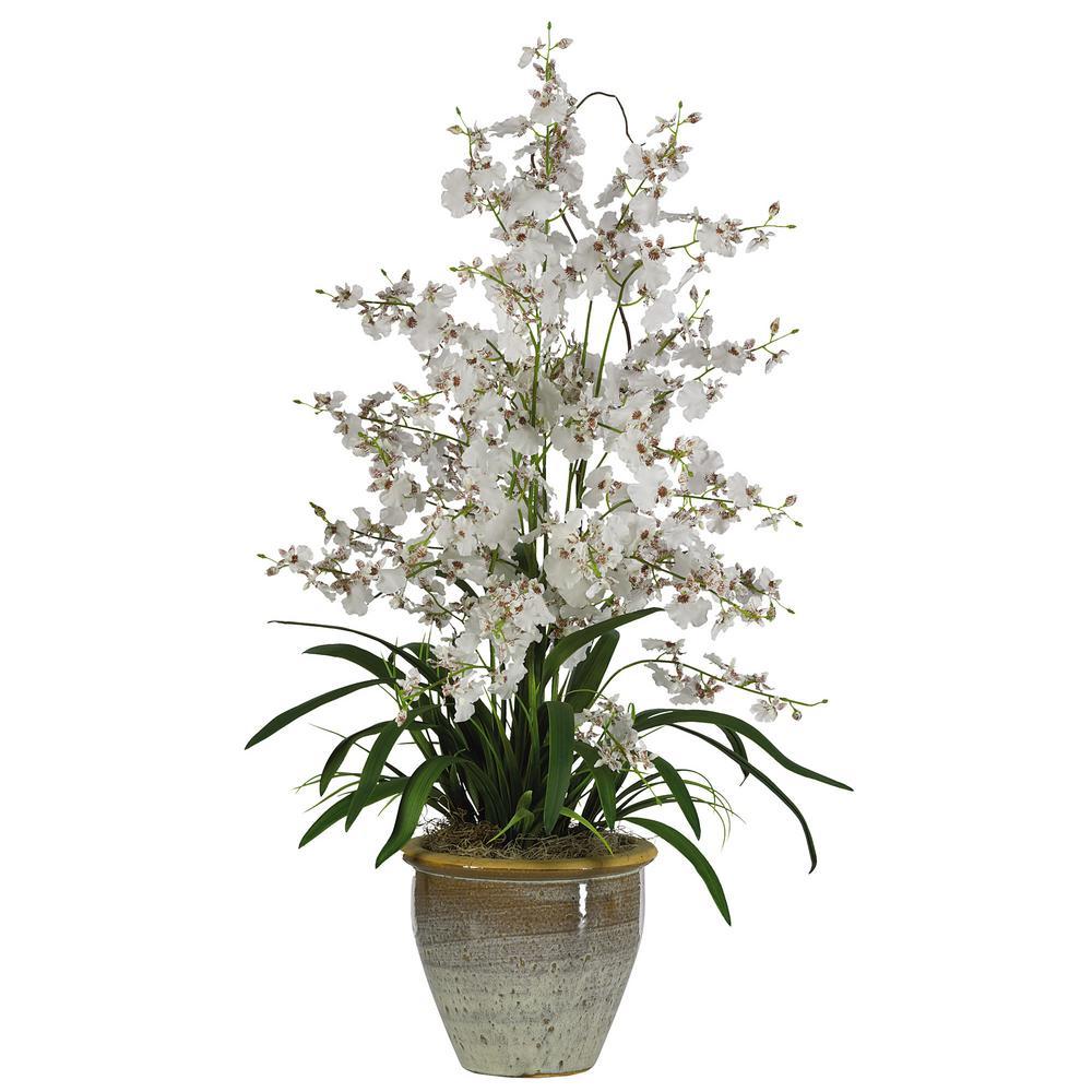 32 in. Triple Dancing Lady Silk Flower Arrangement in White