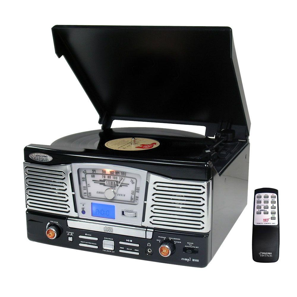 Pyle Retro Style Turntable With CD/Radio/USB/SD/MP3/WMA and Vinyl-to-MP3 Encoding (Black)-DISCONTINUED