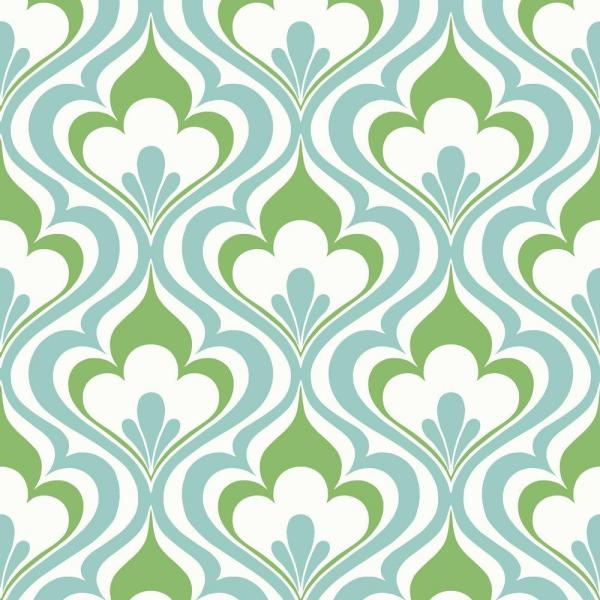 Lola Blue Ogee Bargello Strippable Roll Wallpaper (Covers 56 sq. ft.)