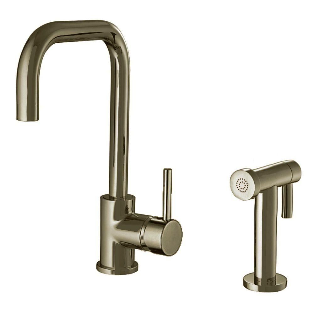 Whitehaus Collection Jem Collection Single-Handle Side Sprayer Kitchen Faucet in Brushed Nickel