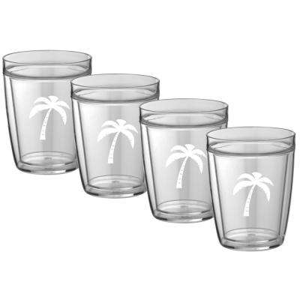 Kasualware Palm Tree 14 oz. Doublewall Short Tumbler (Set of 4)