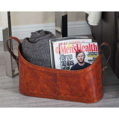 Real Distressed Brown Leather and Taxon Board Freestanding Magazine Rack