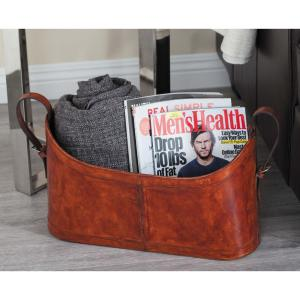 Real Distressed Brown Leather and Taxon Board Freestanding Magazine Rack by