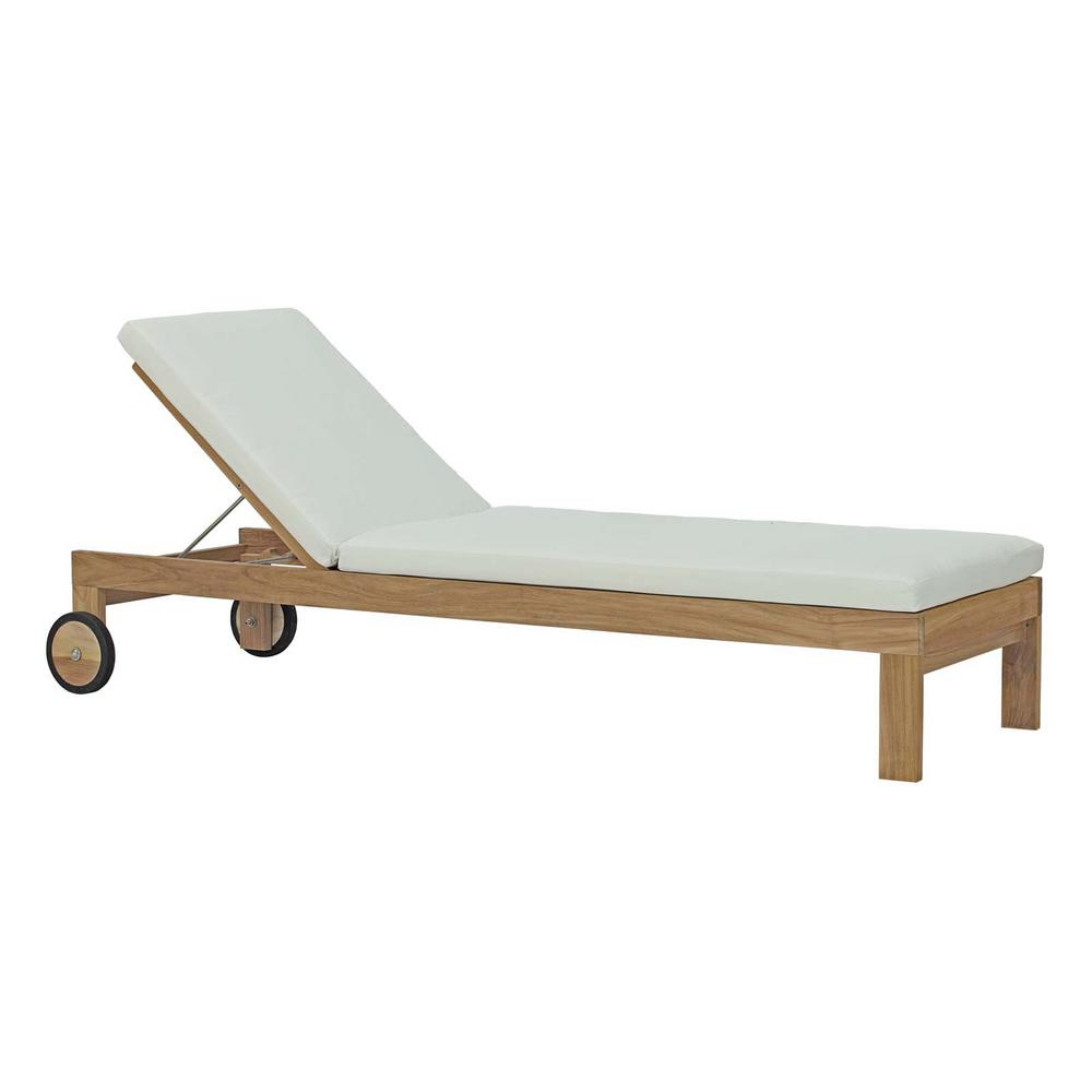 Modway Upland Patio Natural Teak Wood Outdoor Chaise Lounge With White Cushions