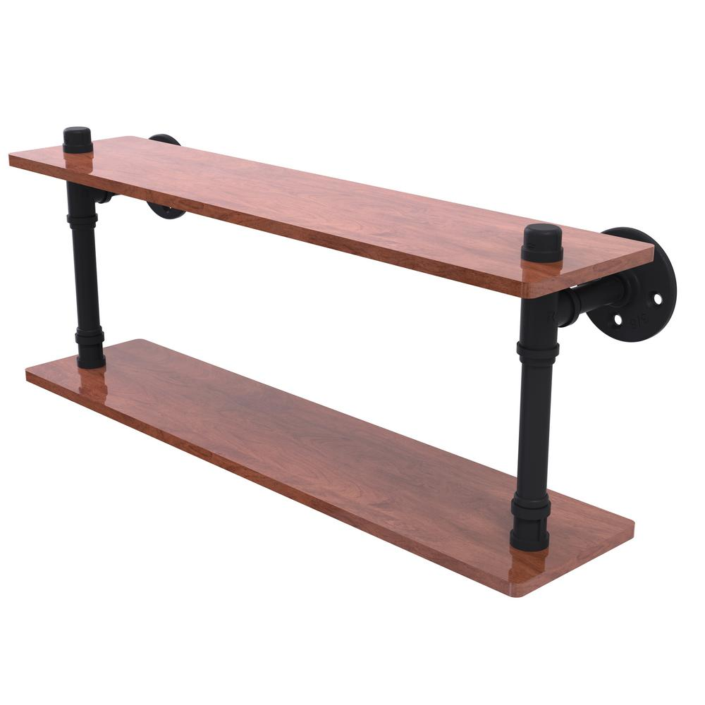 Pipeline Collection 22 in. Ironwood Double Shelf in Matte Black