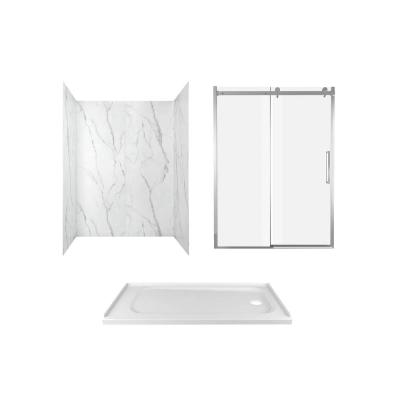 Passage 60 in. x 72 in. 3-Piece Glue-Up Alcove Shower Wall, Door and Base Kit with Right Hand Drain in Serene Marble