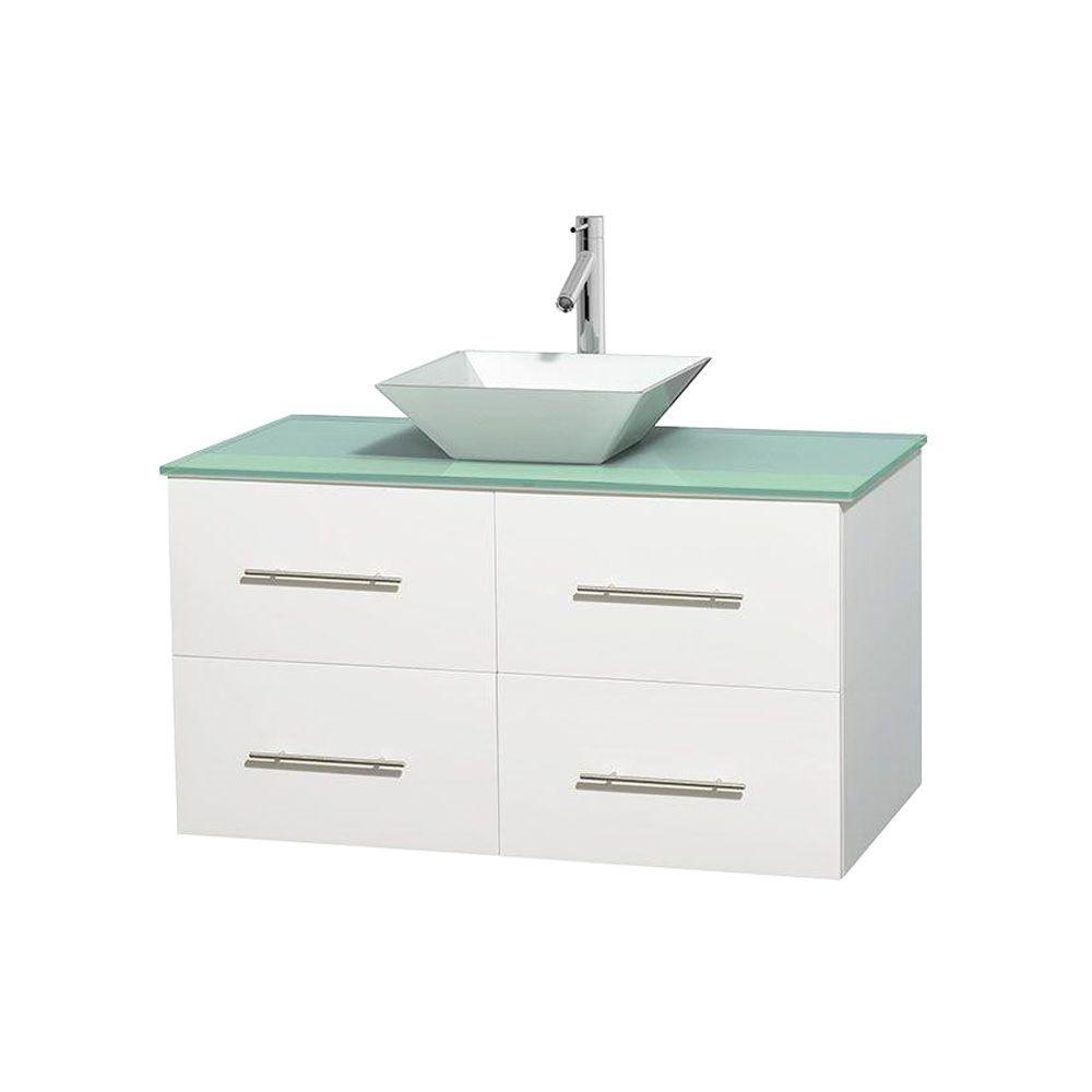 Wyndham Collection Centra 42 in. Vanity in White with Glass Vanity Top in Green and Porcelain Sink