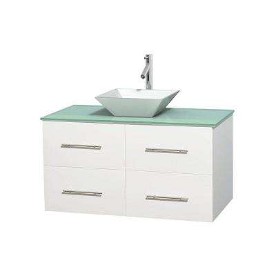 Centra 42 in. Vanity in White with Glass Vanity Top in Green and Porcelain Sink