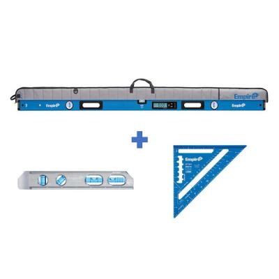 72 in. Digital Box Level with Case 8 in. Magnetic Torpedo Level and Rafter Square in True Blue