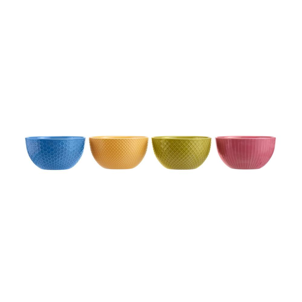 StyleWell 4-Piece Textured Mix & Match Stoneware Bowl Set (Service for 4), Sail Blue/Sunrise/Fuchsia was $19.98 now $9.99 (50.0% off)