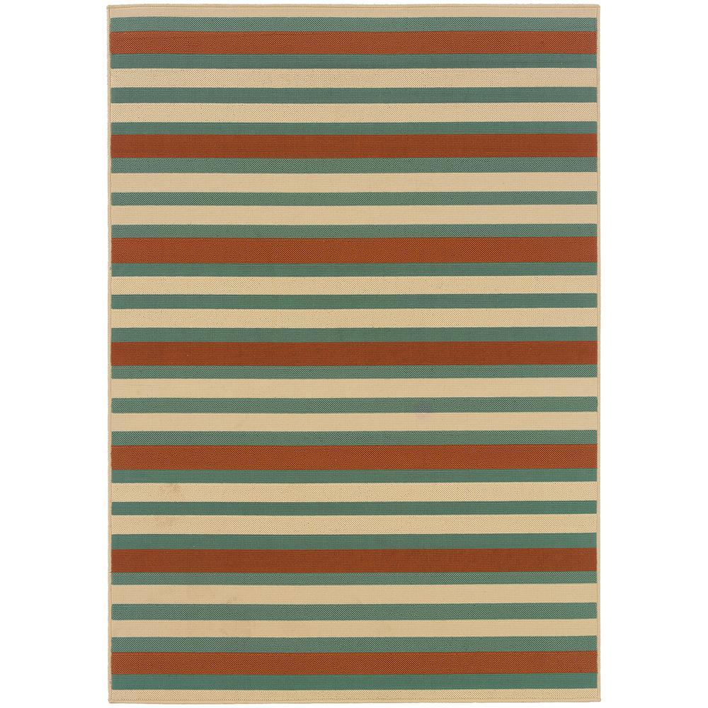 Candy Stripe Orange/Teal 3 ft. 7 in. x 5 ft. 6