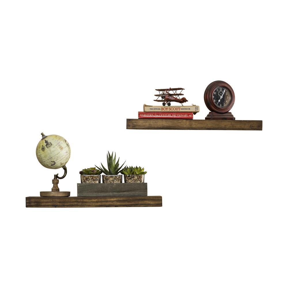 True Floating 5.5 in x 20 in x 2 in Walnut Pine Floating Decorative Wall Shelf with Brackets (Set of 2)