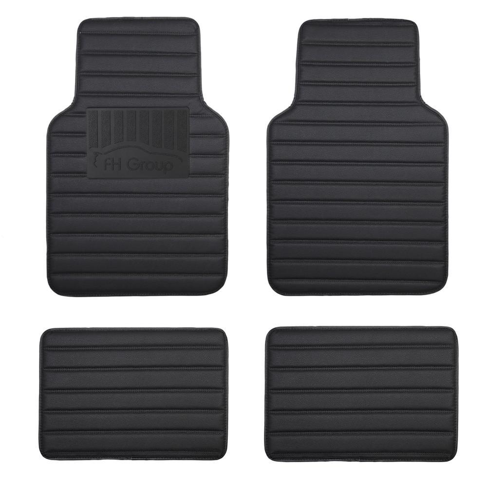 All-Season Stripe Heavy-Duty Anti-Skid Backing 17 in. x 26.5 in. Faux Leather Floor Mats