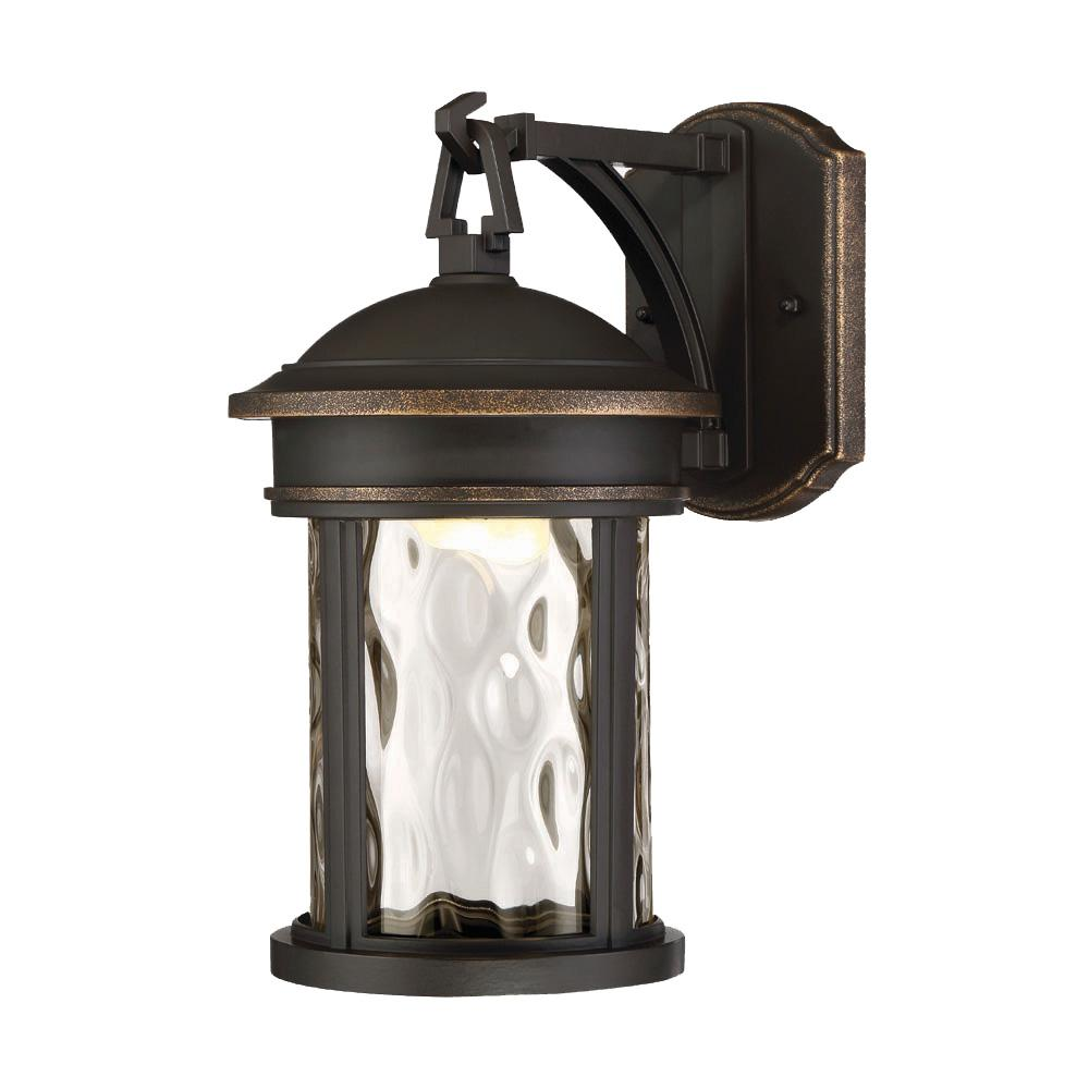 Led Olympic Bronze Outdoor Wall Lantern With Clear Hammered Gl Shade