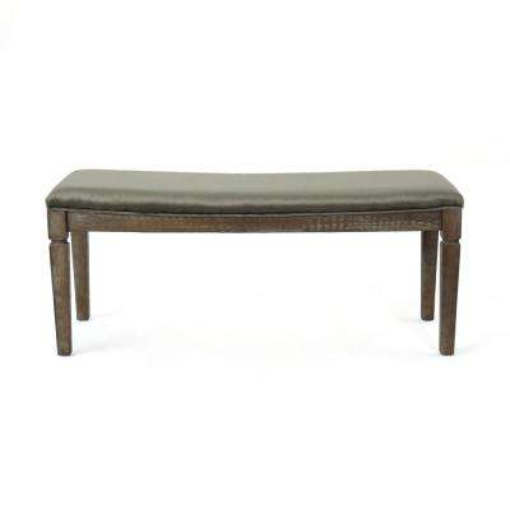 Ophir Gray Velvet Bench with Black Walnut Wood Frame