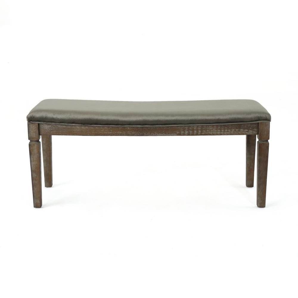 Wondrous Noble House Ophir Gray Velvet Bench With Black Walnut Wood Ibusinesslaw Wood Chair Design Ideas Ibusinesslaworg